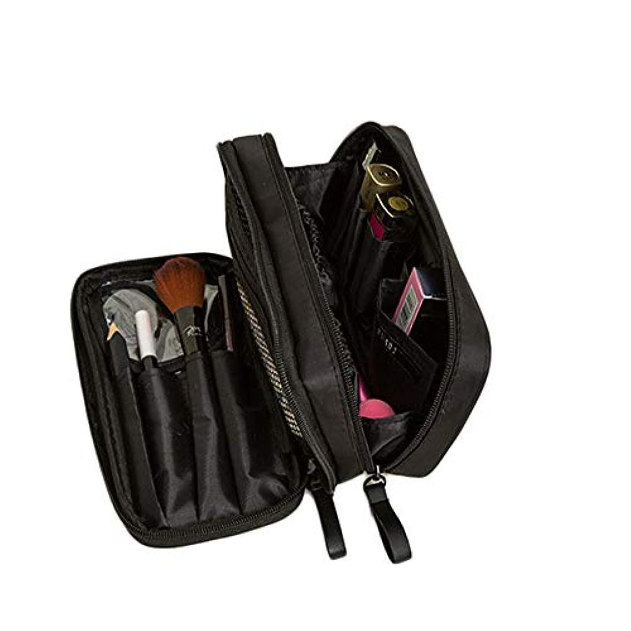 バラ色名目上の人特大スペース収納ビューティーボックス 携帯用化粧品袋、専門の化粧品袋の札入れの旅行者の密集した二重層化粧品/化粧品のブラシ袋の女性、旅行/電車セットの貯蔵袋。 化粧品化粧台 (色 : ブラック)
