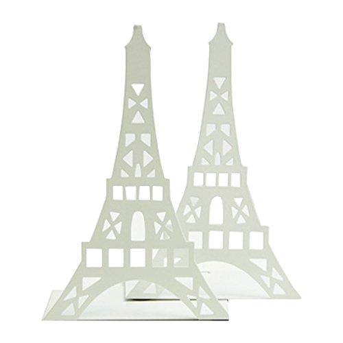 パリ エッフェル塔 金属製 ブックエンド 本立て ブックスタンド ブックストッパー ブックオーガナイー 学校 部屋 卓上収納 机と本棚の飾り物 置物 インテリア ホワイト