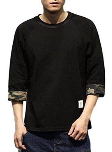 (ライズオンフリーク) RISEONFLEEK メンズ トップス 七分袖 カットソー シンプル 迷彩 カモフラージュ ファッション (01 ブラックM)