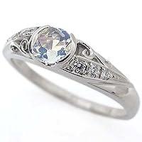プレジュール 唐草 リング ロイヤルブルームーンストーン リング アラベスク 指輪 K18ホワイトゴールドリングサイズ15号