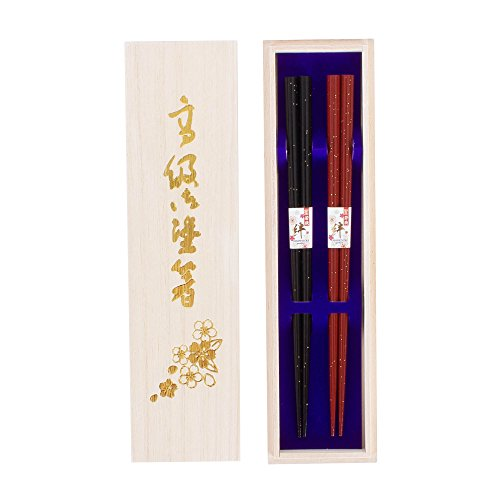 箸 桐箱入り 夫婦箸 ペア 若狭塗箸 結婚祝い お祝い (塗箸 金吹雪2膳)