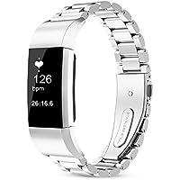 Fitbit Charge 2 ステンレスバンド フレーム 腕時計ベルト 調整工具付 全4色 バンド 上質腕時計ベルトfor Fitbit Charge 2 (18mm, シルバー)