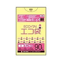 サンキョウプラテック エコ袋 90L 0.045厚 黄 10枚入×30冊 LY-90