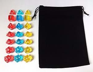 [入門 セット] 多面 クリア サイコロ ダイス 21個 7種 × 3色 収納袋 付き 赤 青 黄