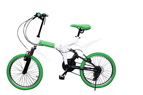 Airbike 折りたたみ自転車 ミニベロ 20インチ サスペンション付き シマノ21段変速 (ホワイト×グリーン)