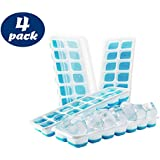 Ice Cube Trays - 4 Set - Silicone Base with lids, Blue, BPA Free Food Grade
