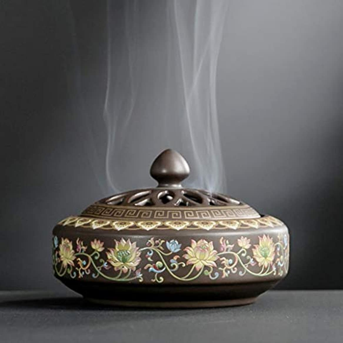 重要性インレイ施しYONIK 香炉 渦巻き線香ホルダー 蚊取り線香ホルダー 線香入れ 磁器 香皿 蓋付き 難燃綿付き 和風