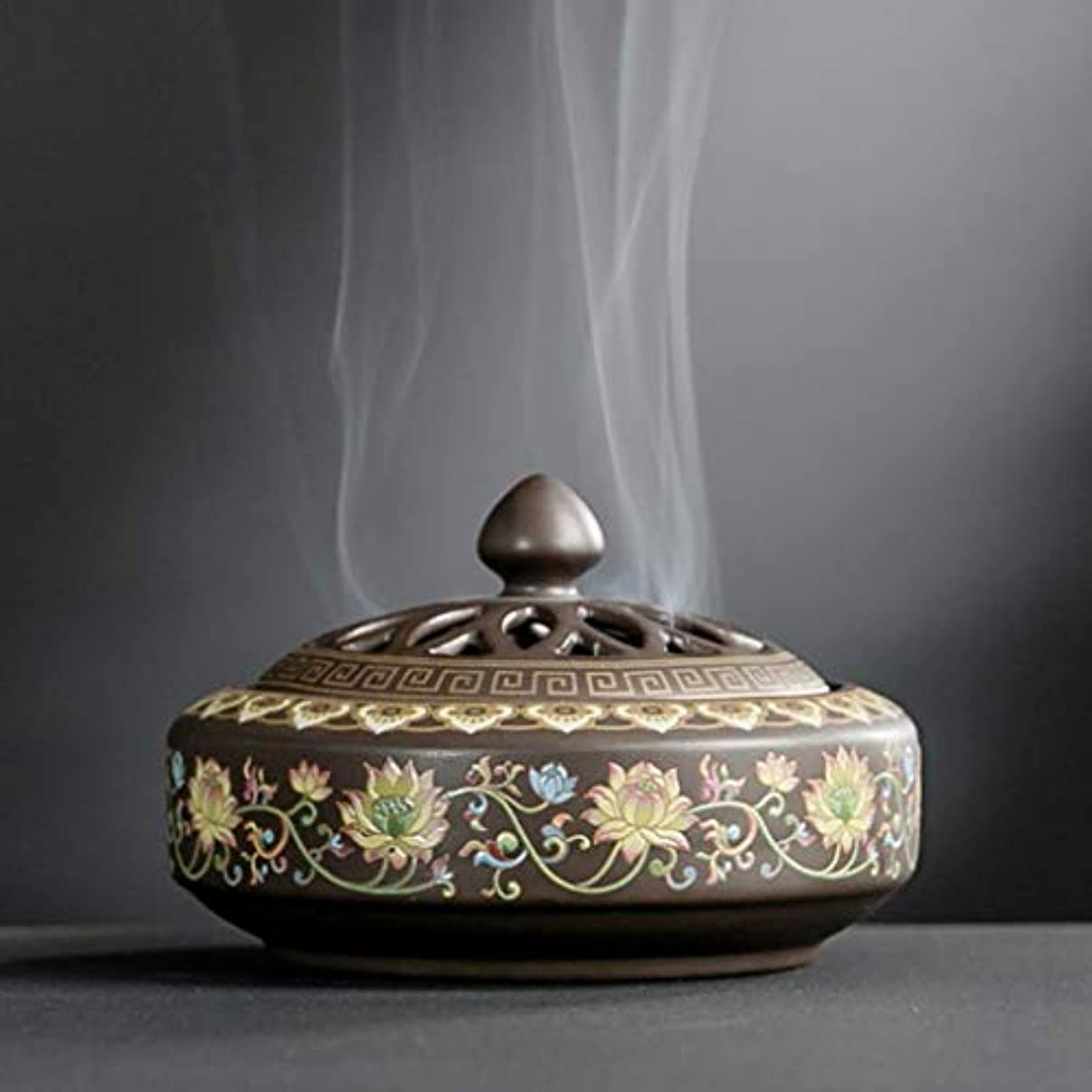 印をつける旅行腐食するYONIK 香炉 渦巻き線香ホルダー 蚊取り線香ホルダー 線香入れ 磁器 香皿 蓋付き 難燃綿付き 和風