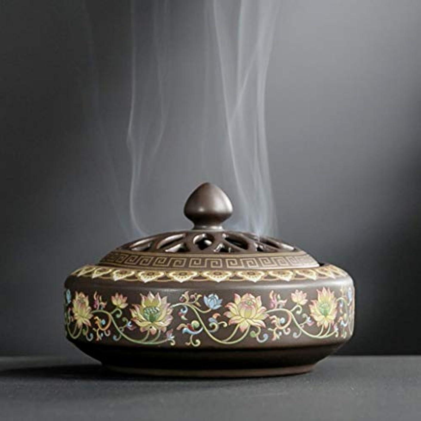 YONIK 香炉 渦巻き線香ホルダー 蚊取り線香ホルダー 線香入れ 磁器 香皿 蓋付き 難燃綿付き 和風