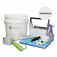 【CORAL TEX】トライアルローラーセット たっぷり20kg 漆喰 (016 STREAM BLUE)と塗装道具セット 塗る人に優しく、環境・健康を考えた西洋漆喰