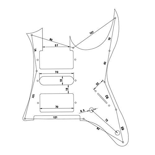 HSHエレキギター ピックガード 290x220x4mm シルバー エレキギター用