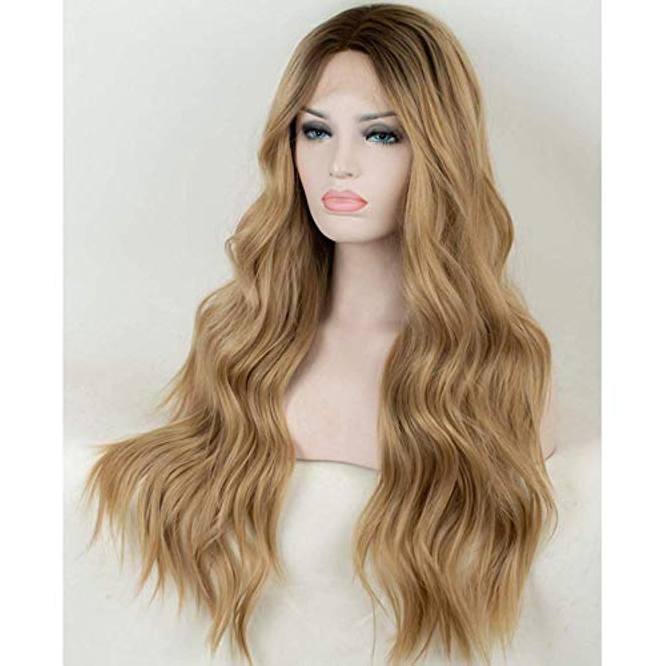 サービスくつろぎ裸女性のための色のかつら長いウェーブのかかった髪、高密度温度合成かつら女性のグルーレスウェーブのかかったコスプレヘアウィッグ、女性のための耐熱繊維の髪のかつら、黄色のウィッグ29.52インチ