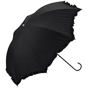 ワールドパーティー 遮光 全3色 長傘 手開き 日傘/晴雨兼用 クラシックフリル ブラック 8本骨 50cm UVカット [正規代理店品]