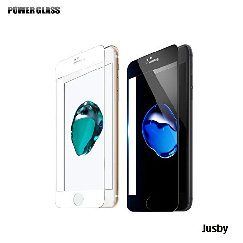 POWER GLASS 強化ガラス保護フィルム 0.33mm jusby (iPhone 7 4.7-inch 3D 曲面 ハイブリット 全面カバー (黒フレーム))