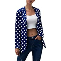 Macondoo Women Long Sleeve Open Front Dot Jacket Coat Lapel Blazer Suit