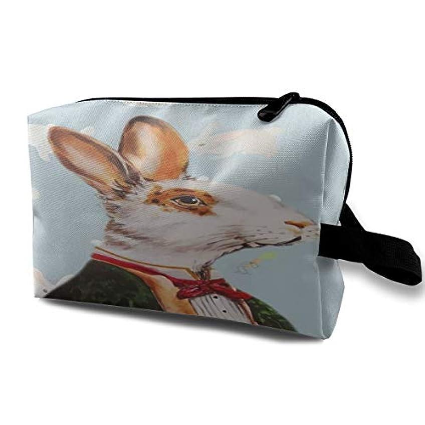 ミニチュア医学それによってEaster Gentle Bunny 収納ポーチ 化粧ポーチ 大容量 軽量 耐久性 ハンドル付持ち運び便利。入れ 自宅?出張?旅行?アウトドア撮影などに対応。メンズ レディース トラベルグッズ