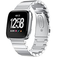 Kartice Compatible Fitbit Versa Bands, Kartice Premium Solid Stainless Steel Watch Bracelet Adjustable Folding Clasp Strap Compatible Fitbit Versa Smart Watch Fitness (Silver 5)