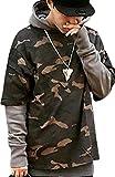 kimurea select (キムレアセレクト) メンズファッション カモフラ カモフラージュ 柄 フード付き プルオーバー パーカー 長袖 上着 迷彩服 アウター 大きいサイズ (M, ブラウン)