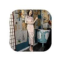 ピンクのチャイナドレスチャイナドレス女性シルク長袖中国のイブニングドレスオリエンタルスタイルロングドレス花チャイナドレス、ピンクの長いチャイナドレス、S