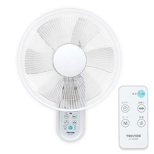 TEKNOS 扇風機 壁掛け 首振り タイマー付 リモコン付 風量3段階 マイコン式 ホワイト KI-W280RI