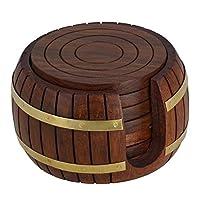 ナーズウッドアート木製ドリンクコースターウッドテーブルコースターセット6用ティーカップコーヒーマグビール缶バータンブラーと水