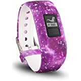 TERSELY Band Strap for Garmin Vivofit JR 3 Junior 2, Soft Silicone Metal Clasp Buckle Wrist Strap Watch Band Bracelet for VIVOFIT 3 JR Junior 2 1 Kids Fitness Tracker - Galaxy