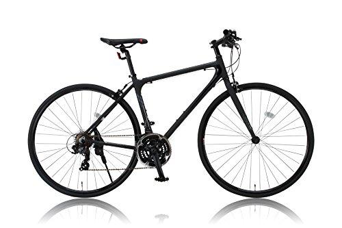 カノーバー クロスバイク 700C シマノ21段変速 CAC-021 (VENUS 470mm) 特殊加工 アルミフレーム フロントLEDライト付 ブラック