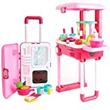 Toy Chef 2-in-1 Travel Suitcase Kitchen Set for Children | Includes Toy Pots, Pans, Dishes, Utensils & Foods ABS Plastic Pretend Play Kit for Boys & Girls | Great Gifting Idea Kitchen
