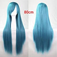 FidgetGear 80CMファッションフルウィッグロングストレートウィッグコスプレパーティーコスチュームアニメヘア スモークブルー