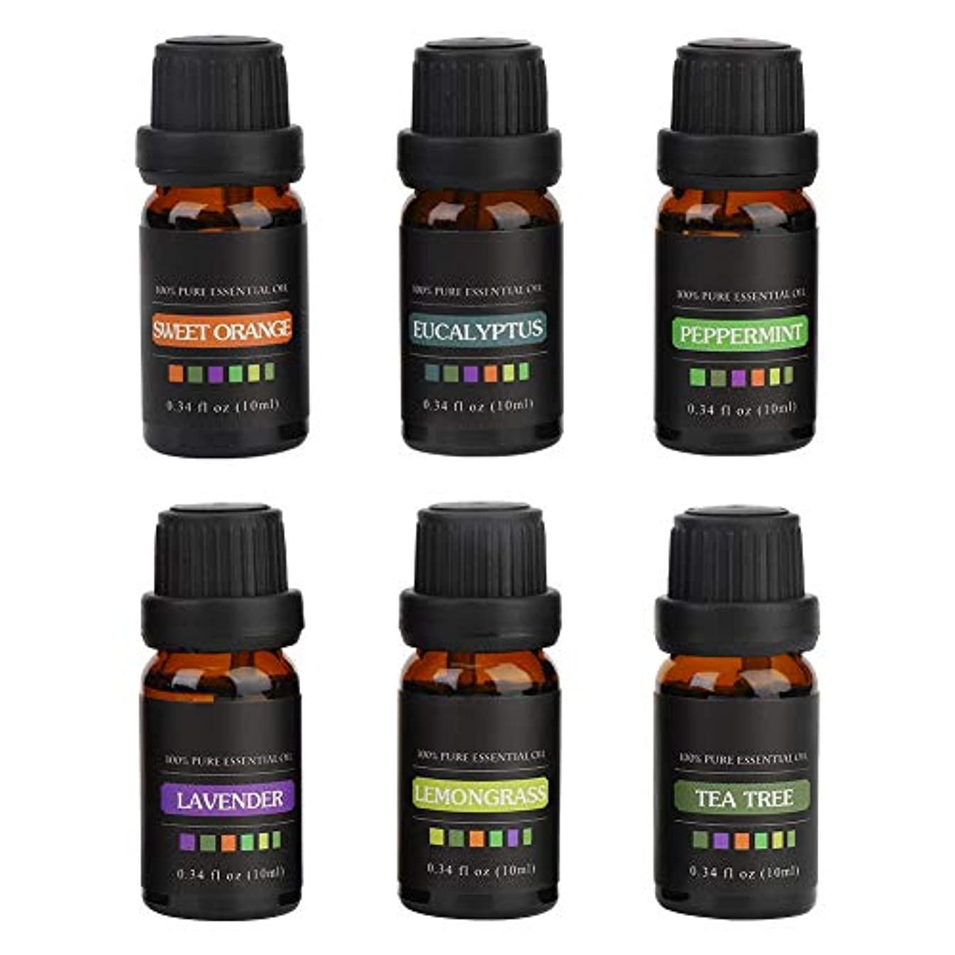 分泌する大陸望ましいエッセンシャルオイル - 6ボトルギフトSet10MLナチュラル香り高い入浴シャワーマッサージ血清リラックス