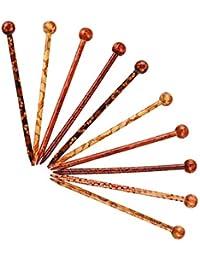 FLAMEER 髪飾り 和装  かんざし 本簪 手作り簪 お祭り 花火大会 DIY装飾 ウッド 女性 10個/セット