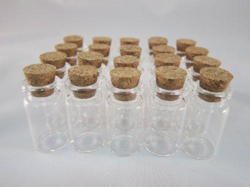 Tick Nick コルク付き ガラス ミニチュア ボトル 20本セット / コルク 瓶 コルク ビン ビーズ アクセサリー パーツ (全長:40mm  直径:20mm)