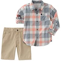 Calvin Klein Baby Boys 2 Pieces Long Sleeves Shirt Set Shorts
