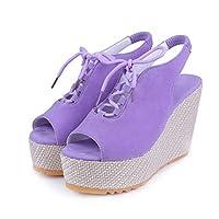 [SENNIAN] レディースシューズ グラディエーター 厚底 サンダル スポサン 23.5cm スポーツ パープル 歩きやすい 軽い ビーチサンダル 美脚 軽量 ウォーキングシューズ 婦人靴 スポーティー かわいい ローヒール コンフォート 身長アップ