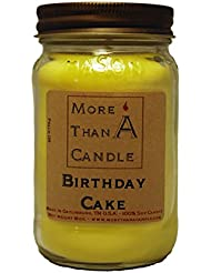 More Than A Candle BDC16M 16 oz Mason Jar Soy Candle, Birthday Cake