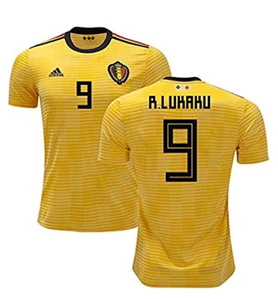 クリープバズ一口男性サッカー Belgium(ベルギー)ワールドカップ 2018アウェイユニフォーム半袖#9 Romelu Lukaku