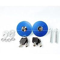 送料無料 鍵付き 汎用品 ボンネットピン フラットタイプ 円盤 円形 メタルタイプ ボンピン 2個 ブルー