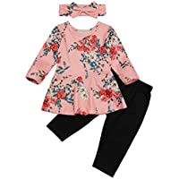 Seyouag Baby Girl Winter Clothes Long Sleeve Ruffle Floral Dress Top and Black Pants Set