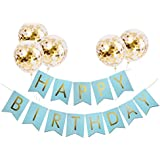 Tellpet ブラック HAPPY BIRTHDAY バナー ゴールド 紙吹雪バルーン5個付き happy birthday-gold-blue