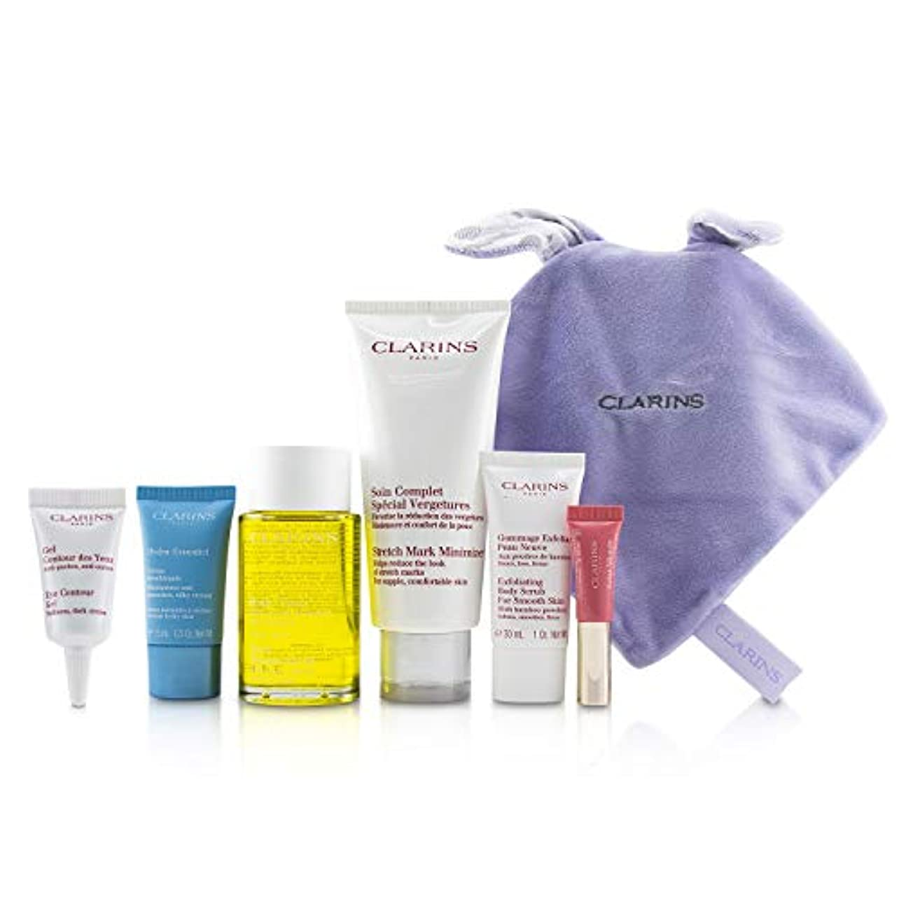 生ルーチン和解するクラランス Maternity Set: Tonic Treatment Oil+ Stretch Mark Minimizer+Hydra-Essentiel Cream+ Body Scrub+ Eye Gel+ Lip...