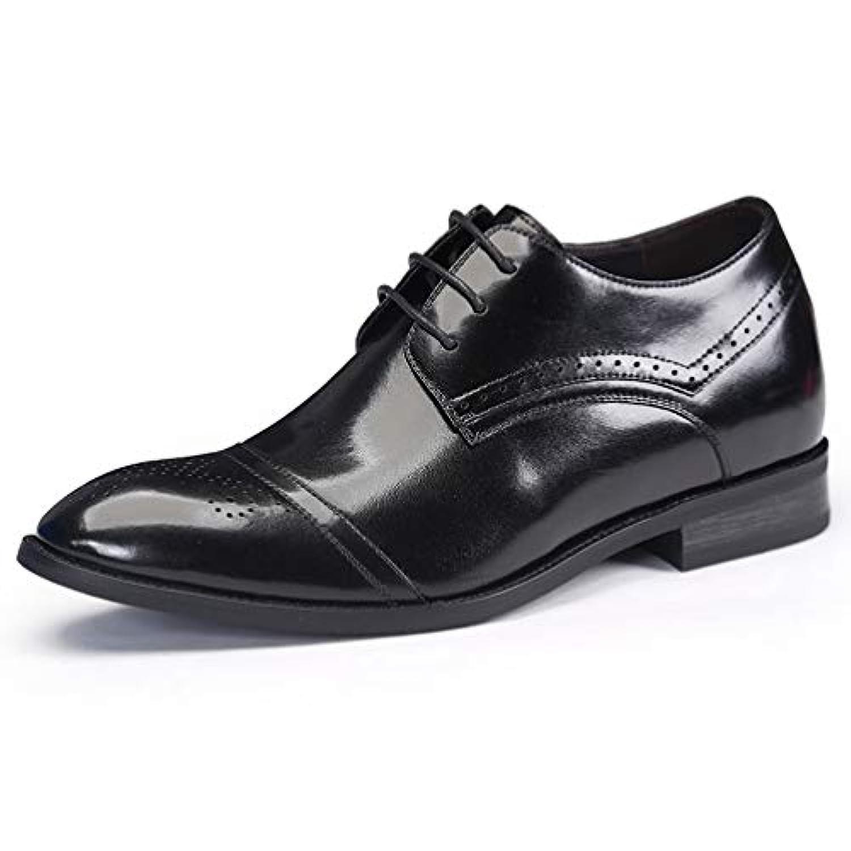 ウォーキングシューズ ビジネス メンズ 革靴 リゾート 通気性 美脚 厚底 身長アップ 7センチ インヒール 柔らかい コンフォート 型押し ローファー 軽量 紳士靴 冠婚葬祭 結婚式 ブラック 25cm