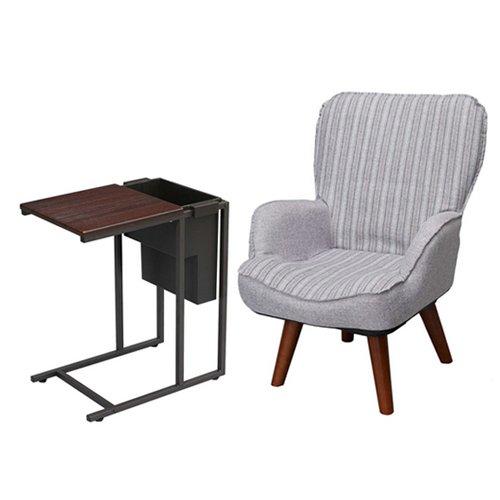 【セット買い】脚付き ミドルバック 回転座椅子 LKR-GY + サイドテーブル(収納付) GST4530PBR