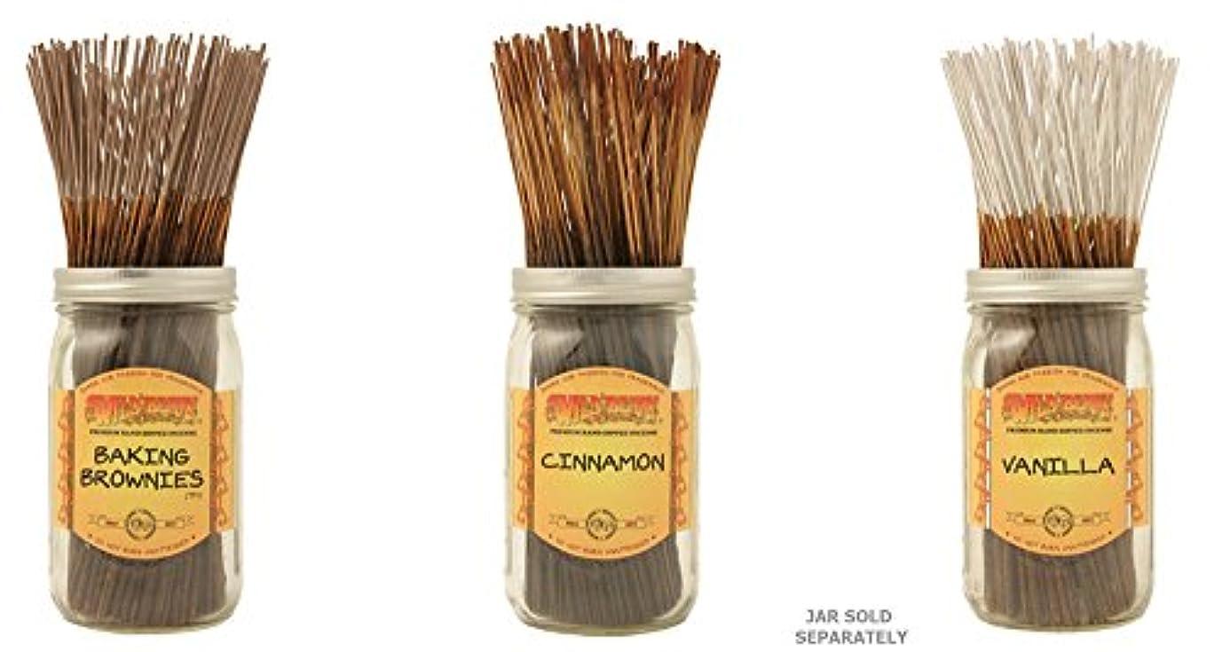 離婚称賛イチゴWildberry Incense Sticks Best Sellerのセット3 Scents – Baking Brownies、シナモン、バニラ(各、100のパック合計300 Sticks )