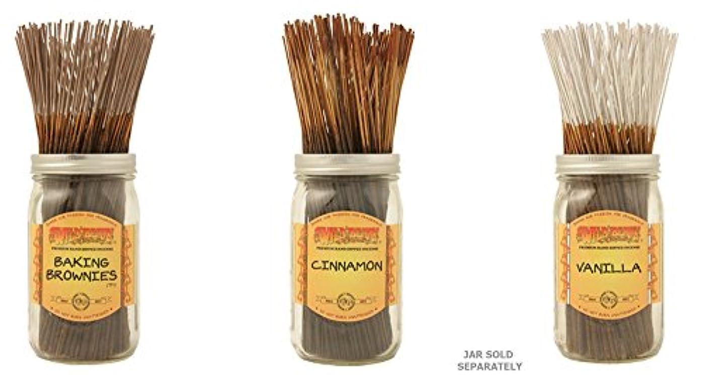 三番過度の迷路Wildberry Incense Sticks Best Sellerのセット3 Scents – Baking Brownies、シナモン、バニラ(各、100のパック合計300 Sticks )