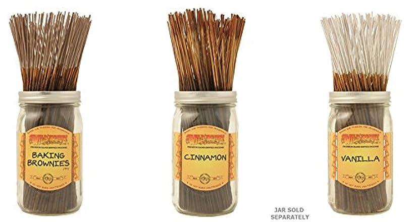 成人期部分木製Wildberry Incense Sticks Best Sellerのセット3 Scents – Baking Brownies、シナモン、バニラ(各、100のパック合計300 Sticks )