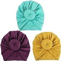 HADM 3 Pcs Baby Turban Hospital Hat Infant Baby Headband Hat Cap with Soft Cute Knot Nursery Beanie 1-2Y