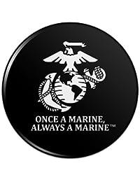 一度海兵隊海兵隊USMCブラック?ホワイト正式に認可されたピンバックボタンピンバッジ - 3