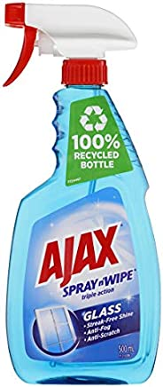 Ajax Spray n' Wipe Triple Action Ammonia Free Glass Cleaner Anti Streak Anti Fog Anti Scratch Trigger Spra