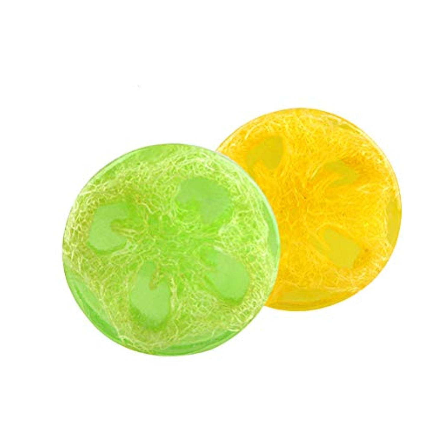 重要シャトル陰気Lurrose ハンドメイドエッセンシャルオイルソープバーモイスチャライジングボディウォッシュソープ2個(アロエとレモン)