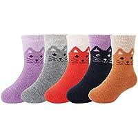 5 Pack Kid's Girls Soft Warm Thick Knit Wool Cozy Crew Socks Children's Christmas Casual Fall Winter Socks